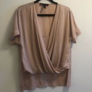 BCBG Max Azria Wrap Front Shirt Blush SZ M
